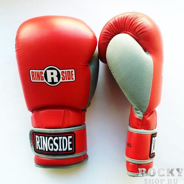 Перчатки боксерские тренировочные, 14 унций RINGSIDEБоксерские перчатки<br>Гелевый наполнитель<br> Пришитый большой палец<br> Крепление липучка с логотипом RINGSIDE<br> Материал - 100% кожа<br><br>Цвет: Красные/серые