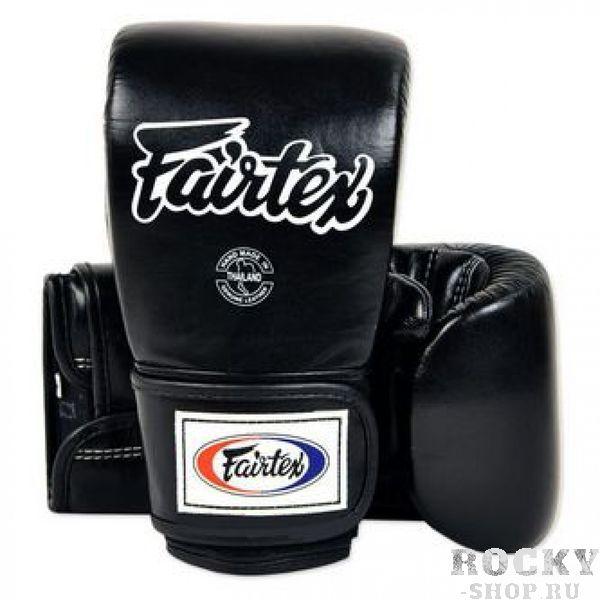 Перчатки снарядные на липучках Fairtex, L FairtexCнарядные перчатки<br>Оригинальный дизайн от компанииFairtex разработанный для отработки техники клинча в Муэй-Тай.  Закрытый большой палец и широкая липучка по всей длине запястья обеспечивают максимальную поддержку запястья и комфорт.   Битки сконструированы на подобие перчаток для работы на Тай-пэдах и мешках.Используется оригинальная липучка для оптимальной поддержки запястья.Двухслойная набивка максимально погашает удар.  Размер: L.Цвет: черный/&gt; Производство: Таиланд.<br>