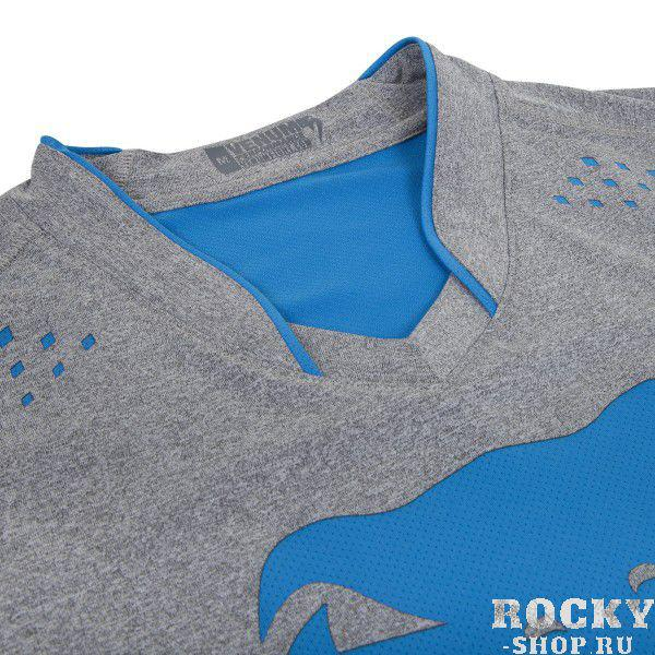 Футболка Venum Hurricane X Fit™ T-Shirt - Grey/Neo Blue