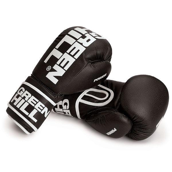 Боксерские перчатки Green Hill POWER, 14 oz Green HillБоксерские перчатки<br>Материал: Искусственная кожаБоксерские перчатки. Материал: искусственная кожа. Манжет на липучке.Современный дизайн , хорошая толщина наполнения обеспечит защиту на тренировках.<br>