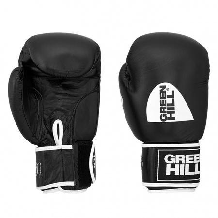 Перчатки боксерские GYM, 8 унций Green HillБоксерские перчатки<br>Натуральная кожа<br> Материал  набивки наивысшей плотности<br> Эргономика  перчатки на высоком уровне<br> Удобная  застёжка-липучка<br> Внутренний  слой из искусственной ткани<br><br>Цвет: Черный