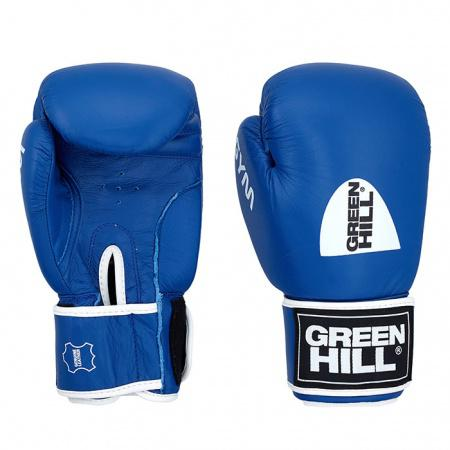 Перчатки боксерские GYM, 10 унций Green HillБоксерские перчатки<br>Натуральная кожа<br> Материал  набивки наивысшей плотности<br> Эргономика  перчатки на высоком уровне<br> Удобная  застёжка-липучка<br> Внутренний  слой из искусственной ткани<br><br>Цвет: Синий
