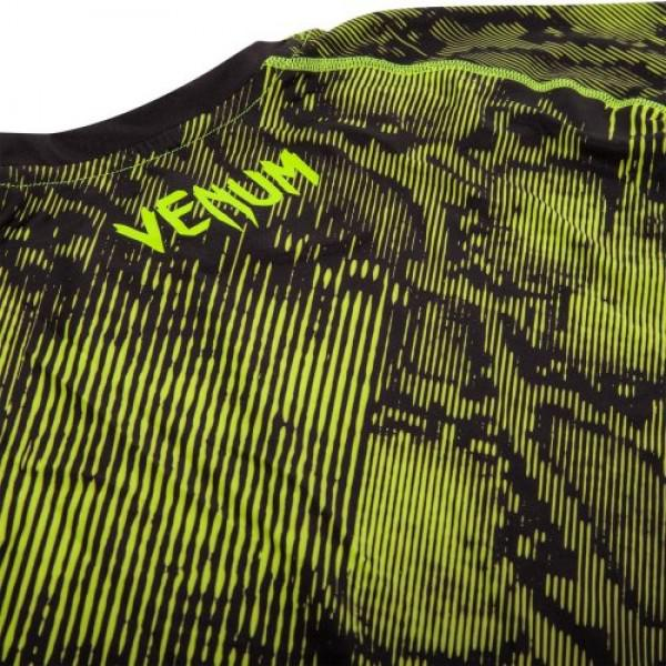 Компрессионная футболка Venum «Fusion» Compression T-shirt - Black Yellow Short Sleeves