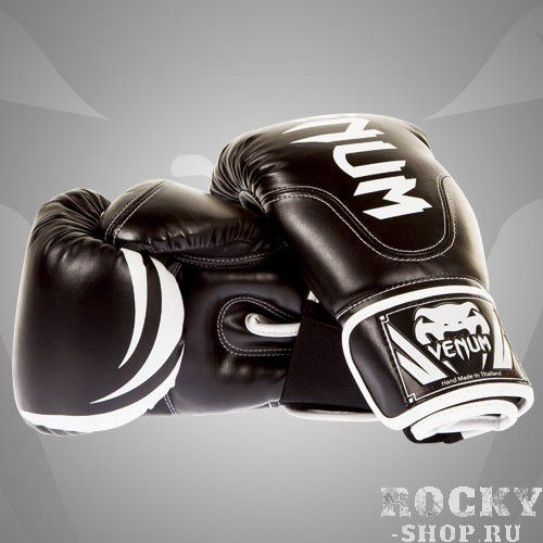 Перчатки боксерские Venum Competitor Boxing Gloves  Black Skintex Leather (Black Line)
