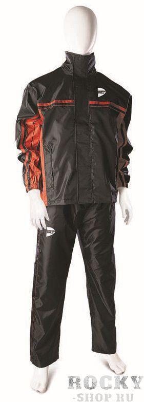 Костюм-сауна, черный с красными вставками, Черный Green HillКостюмы-сауны<br>Костюм сауна применяется при похудении. Материал: полиэстер. Начальный уровень (достаточно проницаемый для воздуха)Подойдет для сбрасывания веса. Манжеты куртки на резинках<br><br>Размер INT: L