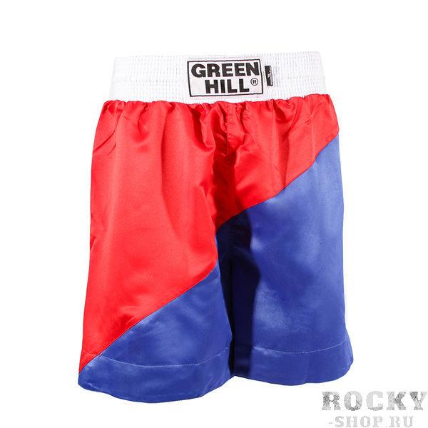 Шорты для тайского бокса Российский флаг Green HillШорты для тайского бокса/кикбоксинга<br>Шорты для тайского бокса. Крепление на резиновом поясе. 100% атлас/полиэстер.Высота резинки: 7 см<br>