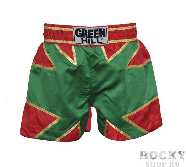 Шорты для тайского бокса, зеленые, Зеленый Green HillШорты для тайского бокса/кикбоксинга<br>Шорты для тайского бокса. Крепление на резиновом поясе. 100% атлас/полиэстер. Высота резинки: 7 см<br><br>Размер INT: XXL