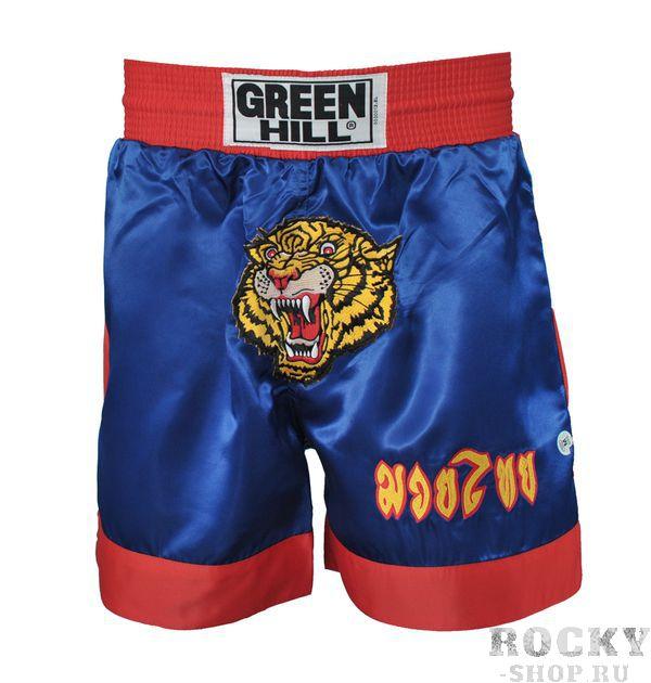 Шорты для тайского бокса TBS-8034, Синий Green HillШорты для тайского бокса/кикбоксинга<br>Шорты для тайского бокса. Материал: 100% атлас/полиэстер. Особо широкие, не сковывающие движение, с эластичным поясом. Высота резинки: 7 см<br><br>Размер INT: S