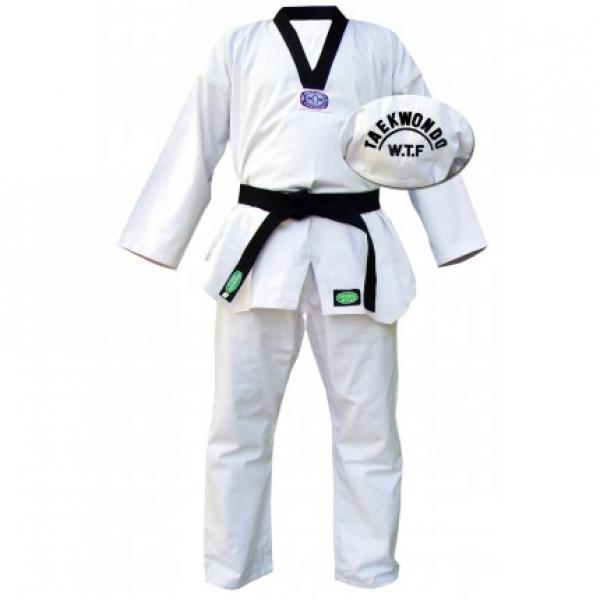 """Кимоно Taekwondo OLIMPIC белое, 7/200 Green HillЭкипировка для Тхэквондо<br>Материал: ХлопокВиды спорта: ТаэквондоКимоно для таэквондо """"Olympic"""". 55 % хлопок, 45 % полиэстер. Цвет: белый с черным воротником.<br><br>Цвет: Белый"""