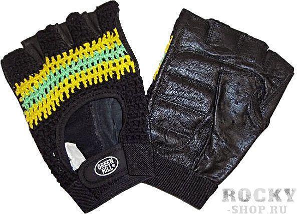 Перчатки для фитнеса кожа/сетка Green HillПерчатки для фитнеса<br>Перчатки вело/тяжелоатлетические. Сделаны из кожи и лайкры с х/б подкладкой.<br><br>Размер: S