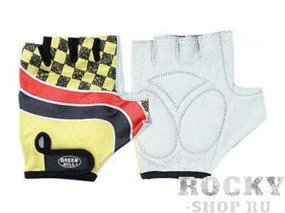 Перчатки для фитнеса WLG-6418  кожа +лайкра Green HillПерчатки для фитнеса<br>Перчатки вело/тяжелоатлетические. Сделаны из кожи и лайкры. На запястье ремень на липучке.<br><br>Размер: M