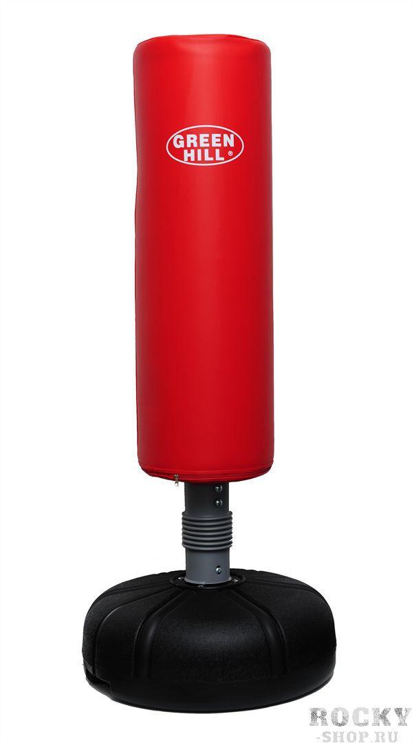 Водоналивной мешок Green HillСнаряды для бокса<br>Мишень из особо прочного винила, внутренний наполнитель пенополиуретан. Диаметр мешка 36 см. , высота 115, высота тренажера 165 см. основание: диаметр 70см, высота 26см. Надежная ударопрочная стойкаОснование заполняется водой 50л. Вес без воды 16 кг . Предназначен для фитнес тренировок в домашних условиях. Модель оснащена мощной пружиной у основания,обеспечивающей оперативный возврат снаряда и возможность быстрой работы спортсмена. Объемный водоналивной бачок, обеспечивает абсолютную устойчивость снаряда во время активной тренировки. Перед началом занятий с тренажером проверяйте все соединения и подвижные узлы, гайки и соединительные части должны быть хорошо затянуты во избежание поломок и получения травм. Также рекомендуется под основание бачка подложить какую-либо подкладку, во избежание порчи напольного покрытия. ВНИМАНИЕ: При боксировании не допускается наличие на руках аксессуаров (например, колец)<br>