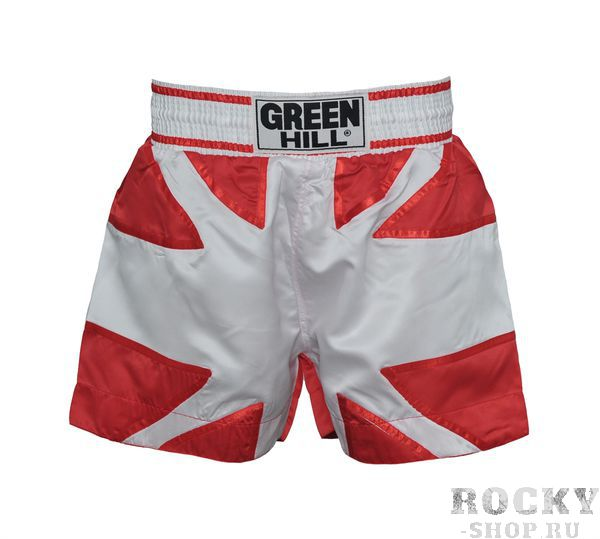 Шорты для тайского бокса, белые, Белый Green HillШорты для тайского бокса/кикбоксинга<br>Шорты для тайского бокса. Крепление на резиновом поясе. 100% атлас/полиэстер. Высота резинки: 7 см<br><br>Размер INT: S
