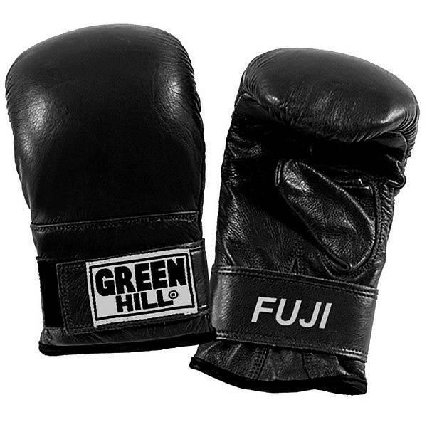 Перчатки снарядные fuji, S Green HillCнарядные перчатки<br>Перчатки прекрасно подходят для отработки ударов на мешках, лапах и для работы с пневмо-грушей. Надежно защищают руки. Манжет на липучке позволяет легко снимать и одевать перчатки, при этом надежно фиксируя запястье во время тренировки. Сделаны из высококачественной кожи.<br><br>Цвет: Чёрный