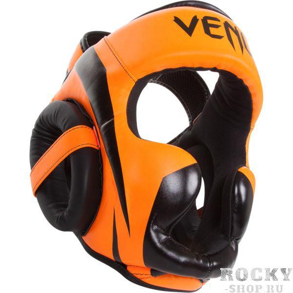 Боксерский шлем Venum Elite, Оранжево-черный VenumБоксерские шлемы<br>Боксерский шлем Venum Elite. Очень мягкая, приятная тканевая подкладка. Рисунок на липучке сделан методом штамповки. Специальный наполнитель(пена) обеспечивает максимальную амортизацию при ударе, а соответственно защищает лицо(голову). Помимо защиты самой головы, шлем так же защищает  щеки и уши. Размер универсальный. сделано в Тайланде. Крепление- двойная застежка на задней части шлема. Полная защита головы, скул, ушей. Внешняя обивка: Premium Skintex leather!<br>
