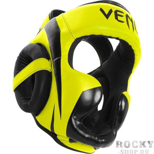 Боксерский шлем Venum Elite, Желто-черный VenumБоксерские шлемы<br>Боксерский шлем Venum Elite. Очень мягкая, приятная тканевая подкладка. Рисунок на липучке сделан методом штамповки. Специальный наполнитель(пена) обеспечивает максимальную амортизацию при ударе, а соответственно защищает лицо(голову). Помимо защиты самой головы, шлем так же защищает  щеки и уши. Размер универсальный. сделано в Тайланде. Крепление- двойная застежка на задней части шлема. Полная защита головы, скул, ушей. Внешняя обивка: Premium Skintex leather!<br>
