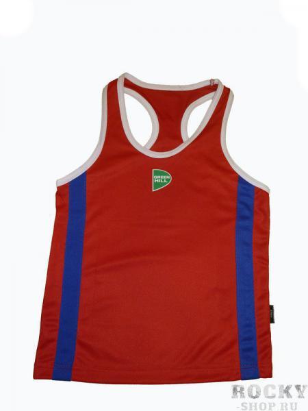 Детская майка боксерская OLIMPIC, Красный Green HillДля бокса<br>Материал: ПолиэстерМатериал: 100% полиэстер. Специальная конструкция лямок, которые во время боя не соскальзывают с плеч. Майка соответствует требованиям международных соревнований.<br><br>Размер: S