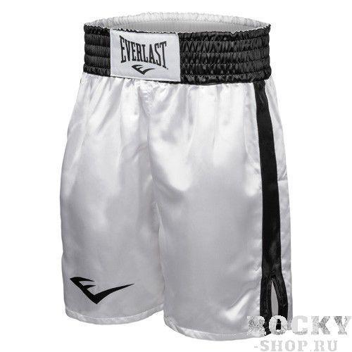 Детские шорты боксерские атласные Everlast, Белые EverlastДля бокса<br>Трусы боксерские сделаны из первоклассного атласа. Широкий пояс гарантирует плотное облегание вокруг талии. Длина выше колена, высокие разрезы обеспечивают свободу движения боксера.<br><br>Размер: S