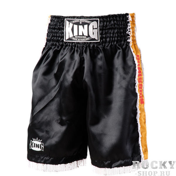 Детские боксерские шорты, Черный KingДля бокса<br>Отличный вариант для занятий тайским боксом К-1<br> Разрез штанины и комфортные строчки позволяют повысить подвижность и свободу движений<br> Удобная резинка на поясе<br> Материал – сатин<br><br>Размер: Размер S