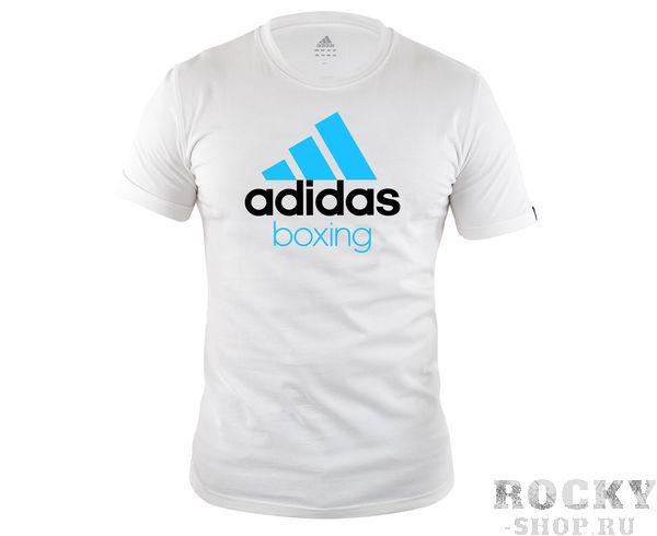Детские футболка Community T-Shirt Boxing, бело-синяя AdidasДля бокса<br>Стильная футболкаиз эксклюзивной линейкиCOMBAT SPORT &amp;amp; MARTIAL ARTS. Классика спортивного стиля, которая никогда не выходит из моды. Изготовленаиз ткани climalite&amp;reg;, которая эффективно отводит влагу от тела во время тренировки. Скрупным контрастным логотипом adidas на лицевой стороне и надписью BOXING. Удобный рифленый ворот. Тонкий хлопковый трикотаж. Эксклюзивная линейкаCOMBAT SPORT &amp;amp; MARTIAL ARTS Рифленый круглый ворот Ткань сlimalite® отводит влагу с поверхности кожи Состав: 100% хлопок Классический крой Крупный контрастный логотип adidas на лицевой стороне Надпись BOXING<br><br>Размер: S