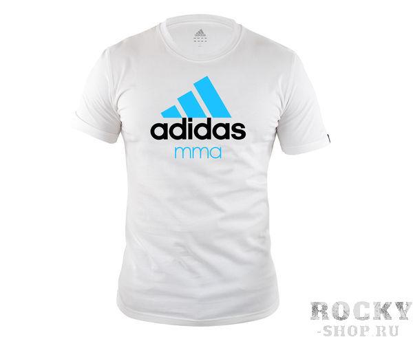 Детские футболка Community T-Shirt MMA, бело-синяя AdidasДля бокса<br>Стильная футболкаиз эксклюзивной линейкиCOMBAT SPORT &amp;amp; MARTIAL ARTS. Классика спортивного стиля, которая никогда не выходит из моды. Изготовленаиз ткани climalite&amp;reg;, которая эффективно отводит влагу от тела во время тренировки. Скрупным контрастным логотипом adidas на лицевой стороне и надписью MMA. Удобный рифленый ворот. Тонкий хлопковый трикотаж. Эксклюзивная линейкаCOMBAT SPORT &amp;amp; MARTIAL ARTS Рифленый круглый ворот Ткань сlimalite® отводит влагу с поверхности кожи Состав: 100% хлопок Классический крой Крупный контрастный логотип adidas на лицевой стороне Надпись MMA<br><br>Размер: S