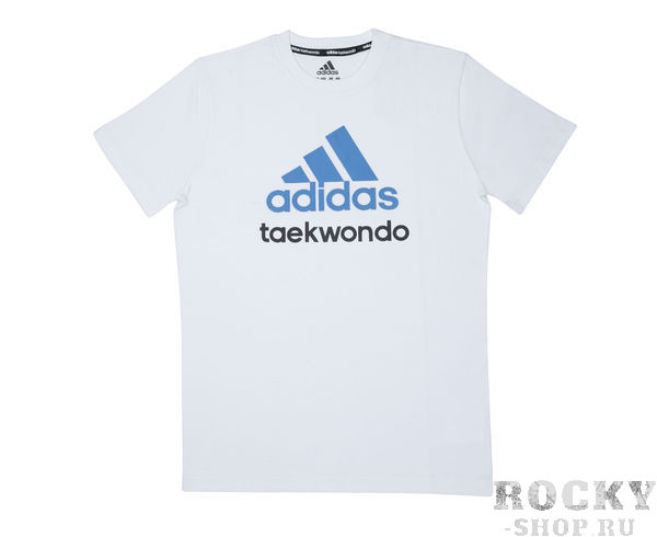 Детские футболка Community T-Shirt Taekwondo, бело-синяя AdidasДля бокса<br>Стильная футболкаиз эксклюзивной линейкиCOMBAT SPORT &amp;amp; MARTIAL ARTS. Классика спортивного стиля, которая никогда не выходит из моды. Изготовленаиз ткани climalite&amp;reg;, которая эффективно отводит влагу от тела во время тренировки. Скрупным контрастным логотипом adidas на лицевой стороне и надписью TAEKWONDO. Удобный рифленый ворот. Тонкий хлопковый трикотаж. Эксклюзивная линейкаCOMBAT SPORT &amp;amp; MARTIAL ARTS Рифленый круглый ворот Ткань сlimalite® отводит влагу с поверхности кожи Состав: 100% хлопок Классический крой Крупный контрастный логотип adidas на лицевой стороне Надпись TAEKWONDO<br><br>Размер: S