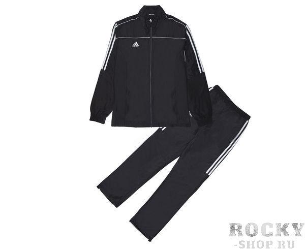 Детские костюм спортивный Tracksuit Martial Arts, черный AdidasДля бокса<br>Этот лаконичный черный костюм идеально подойдет как для занятий спортом, так и для повседневной носки. Контрастная расцветка, воротник-стойка и свободные манжеты на брючинах с регулировкой для максимального комфорта и подгонки размера. Куртка: передние карманы на молнии, застежка на молнию, воротник-стойка, эластичные манжеты и нижний край. Брюки: боковые карманы на молнии, эластичный пояс, регулируемые манжеты на брюках. Классический крой. Из 100% полиэстера. Контрастнная расцветка Лаконичный дизайн Регулируемые манжеты на брюках Классический крой Состав: 100% полиэстер<br><br>Размер: XS
