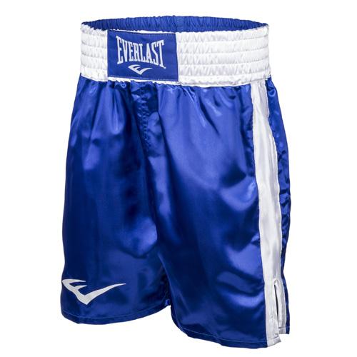 Детские шорты боксерские атласные Everlast, Синие EverlastДля бокса<br>Трусы боксерские сделаны из первоклассного атласа. Широкий пояс гарантирует плотное облегание вокруг талии. Длина выше колена, высокие разрезы обеспечивают свободу движения боксера.<br><br>Размер: S