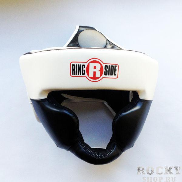 Детский боксерский шлем, тренировочный, Чёрный/белый RINGSIDEДля бокса<br>Специальный защитный материал для подбородка гарантирует повышенную защиту для верхней и нижней челюсти. <br> Шлем сделан из 100% первоклассной кожи<br> Дополнительный защитный материал для лба и ушных раковин<br><br>Размер: Размер S