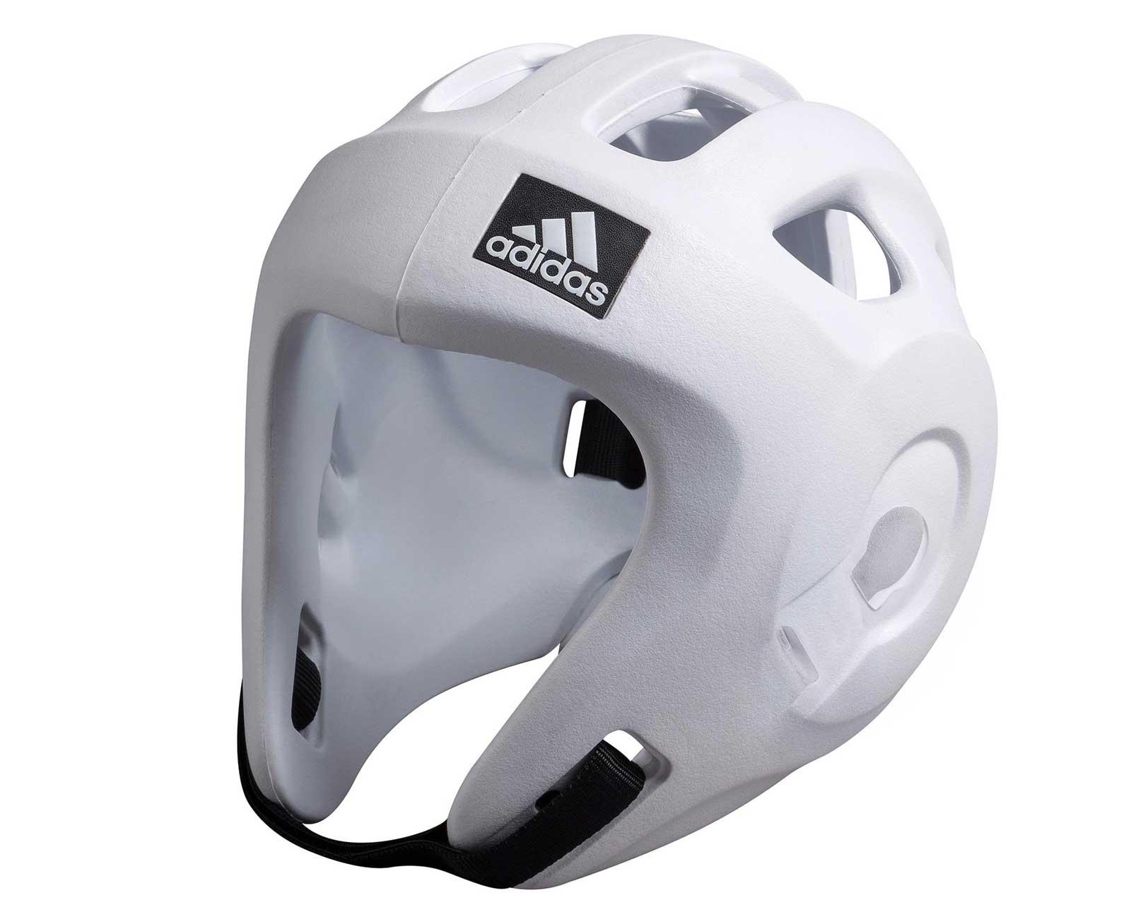 Детская экипировка для бокса Детский шлем для единоборств Adizero (одобрен WAKO и WTF), белый AdidasДля бокса<br>Adidas Adizero - это однозначно лучший шлем в своем классе. Он предназначен для таких боевых искусств как бокс,тхэвондо &amp;#40;одобрен WTF &amp;#40;Всемирная федерация тхэквондо&amp;#41;, кик-боксинг &amp;#40;одобрен WAKO Всемирная ассоциация кикбоксинга&amp;#41;, а так же для других видов контактных единоборств, где требуется гарантированная защита головы с непревзойденным удобством и комфортом.Изготовлен из ультра легкого и супер прочного амортизирующего, резинового материала по технологии adidas. Поставляется с WTF &amp;#43; WAKO комплектом ремней для подбородка и спины для безопасной посадки. Одобрен WAKO и WTFСамый легкий шлеме в своем классеПолностью литой корпус из инновационного материала.Инновационный и эргономичный дизайнОтверстия для вентиляции в верхней и боковых частях шлема.Отлично амортизацияПростая и быстрая настройка ремней с нейлоновой липучкой для подбородка и спины.<br>