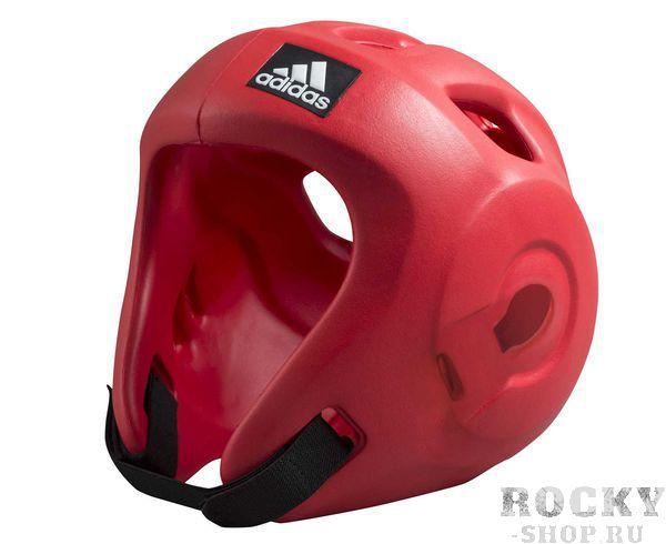 Детская экипировка для бокса Детский шлем для единоборств Adizero (одобрен WAKO и WTF), красный AdidasДля бокса<br>Adidas Adizero - это однозначно лучший шлем в своем классе. Он предназначен для таких боевых искусств как бокс,тхэвондо &amp;#40;одобрен WTF &amp;#40;Всемирная федерация тхэквондо&amp;#41;, кик-боксинг &amp;#40;одобрен WAKO Всемирная ассоциация кикбоксинга&amp;#41;, а так же для других видов контактных единоборств, где требуется гарантированная защита головы с непревзойденным удобством и комфортом.Изготовлен из ультра легкого и супер прочного амортизирующего, резинового материала по технологии adidas. Поставляется с WTF &amp;#43; WAKO комплектом ремней для подбородка и спины для безопасной посадки. Одобрен WAKO и WTFСамый легкий шлеме в своем классеПолностью литой корпус из инновационного материала.Инновационный и эргономичный дизайнОтверстия для вентиляции в верхней и боковых частях шлема.Отлично амортизацияПростая и быстрая настройка ремней с нейлоновой липучкой для подбородка и спины.<br>