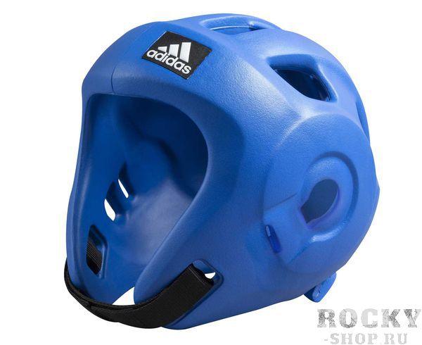 Детская экипировка для бокса Детский шлем для единоборств Adizero (одобрен WAKO и WTF), синий AdidasДля бокса<br>Adidas Adizero - это однозначно лучший шлем в своем классе. Он предназначен для таких боевых искусств как бокс,тхэвондо &amp;#40;одобрен WTF &amp;#40;Всемирная федерация тхэквондо&amp;#41;, кик-боксинг &amp;#40;одобрен WAKO Всемирная ассоциация кикбоксинга&amp;#41;, а так же для других видов контактных единоборств, где требуется гарантированная защита головы с непревзойденным удобством и комфортом.Изготовлен из ультра легкого и супер прочного амортизирующего, резинового материала по технологии adidas. Поставляется с WTF &amp;#43; WAKO комплектом ремней для подбородка и спины для безопасной посадки. Одобрен WAKO и WTFСамый легкий шлеме в своем классеПолностью литой корпус из инновационного материала.Инновационный и эргономичный дизайнОтверстия для вентиляции в верхней и боковых частях шлема.Отлично амортизацияПростая и быстрая настройка ремней с нейлоновой липучкой для подбородка и спины.<br>