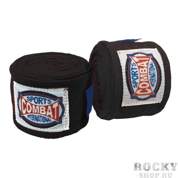 Детские боксерские бинты, 3 м CombatДля бокса<br>Контурные,спортивные, полу - эластичные бинты созданы для всех видов единоборств. <br><br> Специально созданы для бойцов смешанного стиля<br> Длина 300 см<br> Крепление – липучка<br> 2 штуки в упаковке<br><br>Цвет: Черный