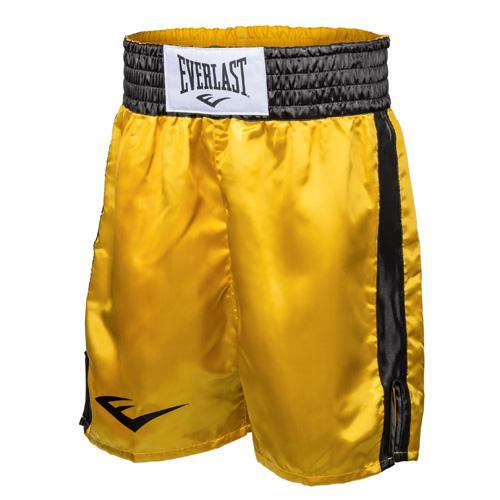 Шорты боксерские атласные Everlast, Желто-черные EverlastШорты для бокса<br>Трусы боксерские сделаны из первоклассного атласа. Широкий пояс гарантирует плотное облегание вокруг талии. Длина выше колена, высокие разрезы обеспечивают свободу движения боксера.<br><br>Размер INT: XL