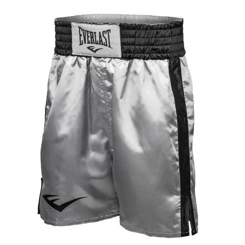 Шорты боксерские атласные Everlast, Черно-серебряные  EverlastШорты для бокса<br>Трусы боксерские сделаны из первоклассного атласа. Широкий пояс гарантирует плотное облегание вокруг талии. Длина выше колена, высокие разрезы обеспечивают свободу движения боксера.<br><br>Размер INT: L