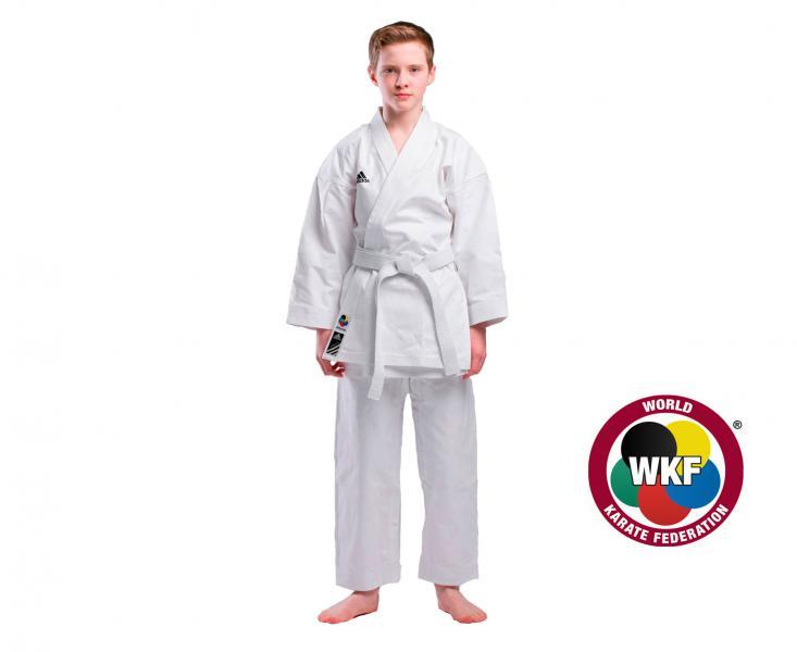 Детская экипировка для карате Детское кимоно для карате Elite European Cut WKF белое, 150 см AdidasДля карате<br>Кимоно для каратэ adidas(ката).              Используется национальными сборными.       Плотная хрустящая ткань каратэ ги.       Специально разработанный европейский крой.       Плотность: 380 грамм(13.5 унций).       Материал: 100%-хлопок.<br>