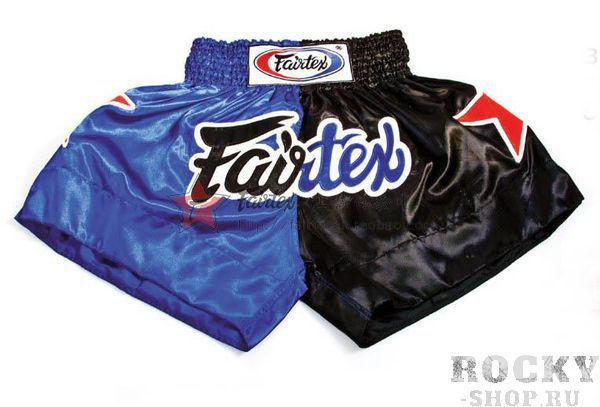 Детские шорты для тайского бокса Fairtex Muay Thai, Черно-синие FairtexДля тайского бокса<br>Строгая, сдержанная модель шорт Fairtex для тайского бокса. BS 084 удобны для тренировок и профессиональных боев. <br><br>Ручная работа - Fairtex Thailand. <br>Материал - сатин<br>Цвет- черно-синий<br><br>Размер: S