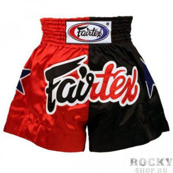 Детские шорты для тайского бокса Fairtex Muay Thai черно-красные (арт. 11240)  - купить со скидкой