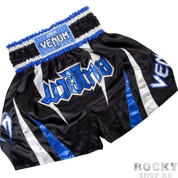 Детская экипировка для тайского бокса Детские шорты тайские Venum Chaiya Muay Thai Shorts - Black/Blue VenumДля тайского бокса<br>Радуем вас новинками от Venum.Представляем вам новые шорты Venum Chaiya Muai Thai shorts.Выполнены в неповторимом тайском стиле. Идеально подходят для всех типов единоборств где разрешенны удары ногами.В этих шортах ваши движения будут лёгкими и нескованными.Вышитые логотипы Venum спереди и сзади.Материал -полиэстер.Лёгкие и практичные. Удобная широкая резинка.<br>
