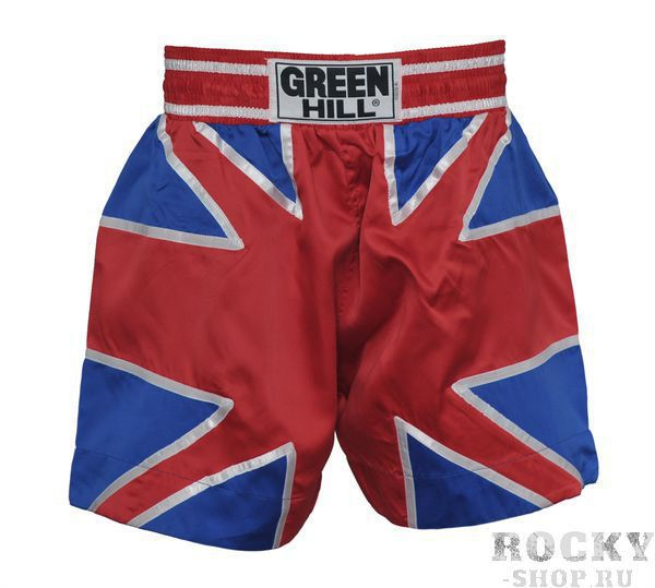 Детская экипировка для тайского бокса Детские шорты для тайского бокса Британский флаг Green HillДля тайского бокса<br>Шорты для тайского бокса. Крепление на резиновом поясе. 100% атлас/полиэстер.Высота резинки: 7 см<br>