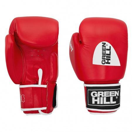 Боксерские перчатки Green Hill HIT , 10 OZ Green HillБоксерские перчатки<br>Боевые боксерские перчатки HIT это отличный выбор для спортсменов предпочитающих жёсткие поединки. Перчатки имеют превосходную посадку на руке. Сжатие руки в кулак в перчатках HIT не требует усилий, что делает их отличным нокаутирующим средством. Боксерские перчатки HIT выполнены из натуральной кожи, наполнитель из пенополиуретана, манжет на липучке.<br><br>Цвет: Красный