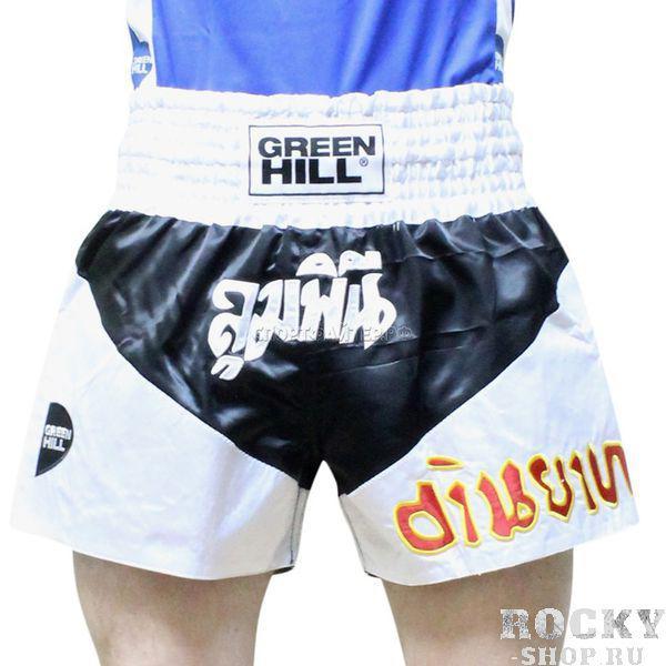 Шорты для тайского бокса Green Hill victory, Черные Green HillШорты для тайского бокса/кикбоксинга<br>Новинка от Green Hill. Современные яркие трусы для тайского бокса, в которых вы будете чувствовать себя королём ринга!Материал - атласный полиэстер.<br><br>Размер INT: XL