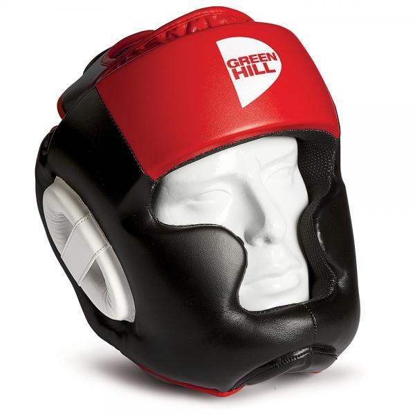 Боксерский шлем gh poise, Черный-красный Green HillБоксерские шлемы<br>Шлем POISE предназначен для тренировок представителей всех видов ударных единоборств. Лицо и подбородок спортсмена надежно защищены конструкцией Full Face. Крышка шлема представляет собой пересечение ремней соединяющихся в маленький пенный модуль в виде логотипа GREEN HILL. Шлем очень удобно и просто одевается и снимается. Внешняя сторона шлема выполнена из 100% Полиуретана FX. Внутренняя сторона из ткани WINDSTOPPER<br><br>Размер: XL