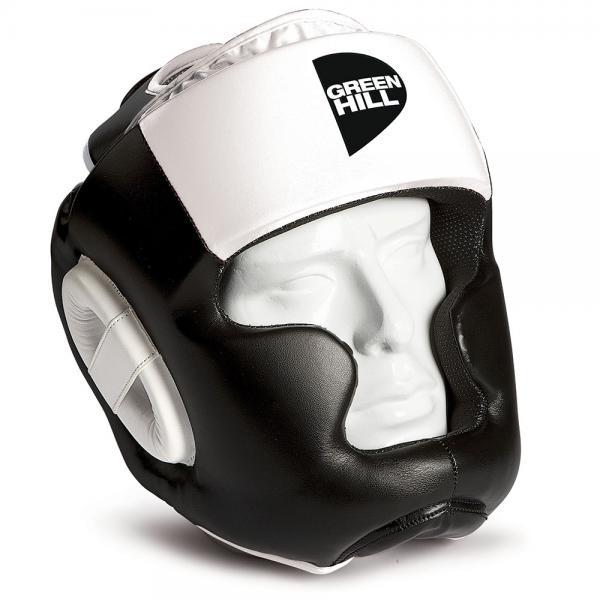 Боксерский шлем GH POISE, Черный-белый Green HillБоксерские шлемы<br>Шлем POISE предназначен для тренировок представителей всех видов ударных единоборств. Лицо и подбородок спортсмена надежно защищены конструкцией Full Face. Крышка шлема представляет собой пересечение ремней соединяющихся в маленький пенный модуль в виде логотипа GREEN HILL. Шлем очень удобно и просто одевается и снимается. Внешняя сторона шлема выполнена из 100% Полиуретана FX. Внутренняя сторона из ткани WINDSTOPPER<br><br>Размер: XL