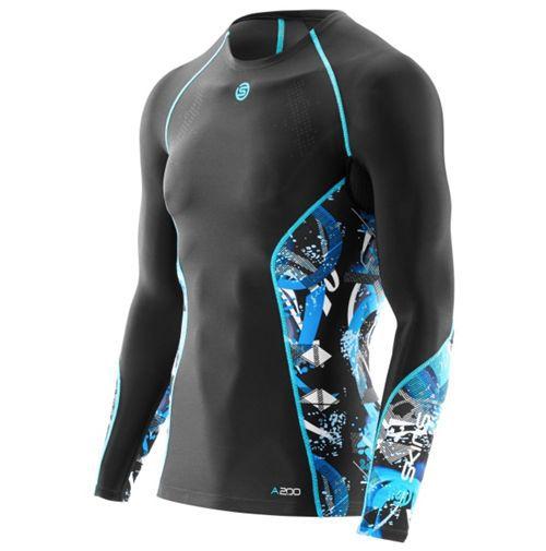 Купить Беговая футболка с длинным рукавомSkins Bio A200 Mens Black/Graffiti Top Long Skins (арт. 12202)