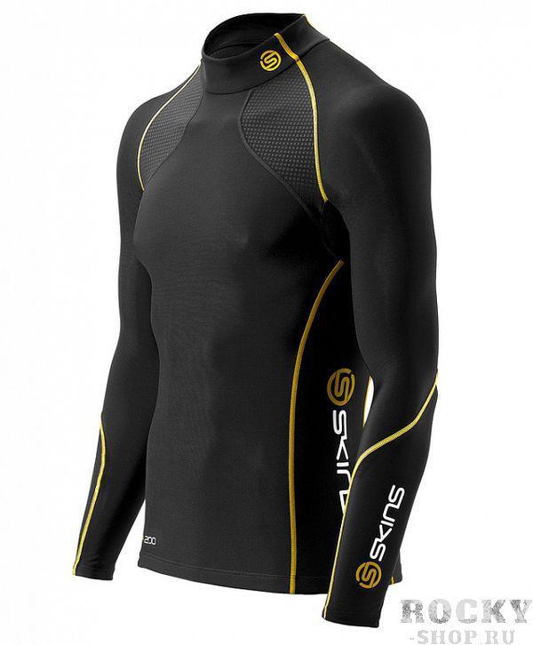 SKINS B60052066 A200 MENS THERMAL L/S MCK NECK Футболка с длинным рукавом (черный/желтый) SkinsКомпрессионные штаны / шорты<br>B60052066 Футболка с длинным рукавом Skins A200 Mens Thermal L/S Mck Neck<br><br>Размер INT: XL