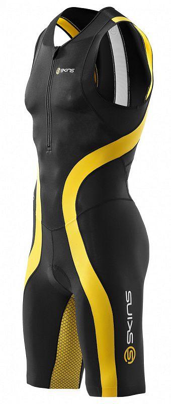 SKINS T50052032 TRI 400 MENS SKINSUIT W FRONT ZIP Комбинезон (черный/желтый) SkinsКомпрессионные штаны / шорты<br>T50052032 Стартовый костюм без рукавов с молнией спереди Skins TRI 400 Mens Skinsuit w Front Zip&amp;nbsp;&amp;nbsp;<br><br>Размер INT: M