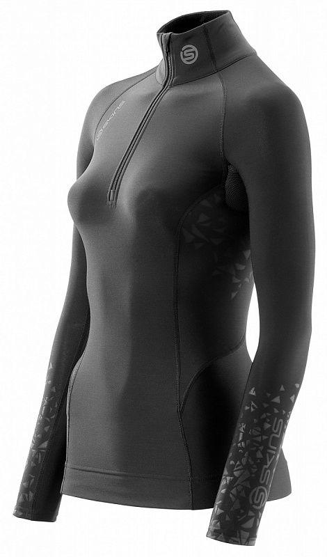 Купить Компрессионная футболка Skins s400x 1/2 zip long sleeve top черная (арт. 12322)