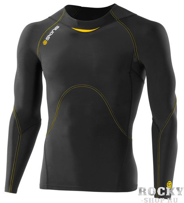 SKINS B40001005 A400 TOP LONG SLEEVE Футболка с длинным рукавом (черный/желтый) SkinsКомпрессионные штаны / шорты<br>Компрессионное белье (футболка с&amp;nbsp;длинным рукавом) Skins. 76% нейлон / 24% спандексВысокотехнологичное компрессионное белье Skins обеспечивает правильный уровень давления на&amp;nbsp;поверхность определенных частей тела тем самым увеличивая приток кислорода к&amp;nbsp;мышцам и&amp;nbsp;улучшая кровообращение. Улучшение кровообращения также способствует выведению молочной кислоты и&amp;nbsp;других метаболических отходов накапливаемых во&amp;nbsp;время интенсивной тренировки. Memory MX&amp;nbsp;Fabric&amp;nbsp;&amp;mdash; компрессионные свойства не&amp;nbsp;теряются со&amp;nbsp;временем за&amp;nbsp;счет высокой эластомерной натяжки возвращающую ткань в&amp;nbsp;свою первоначальную форму. Отличные влаговыводящие свойства ткани сохранят тело сухим. Ткань обладает защитой от&amp;nbsp;ультрафиолетовых лучей 50+. Уникальный способ поддержки ключевых групп мышц:Меньше вибрации мышцМенее подвержены повреждениям мягкие тканиСнижение риска развития мышечных травм во&amp;nbsp;время усталости<br><br>Размер INT: S