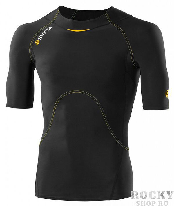Купить Компрессионная футболка Skins a400 короткий рукав черно-желтая (арт. 12336)